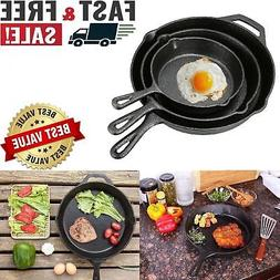 Pre-seasoned Cast Iron 3 Piece Skillet Set Stove Oven Fry Pa