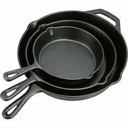 Pre Seasoned Cast Iron Skillet Fry Pan Set 3 Pcs Frying Pan
