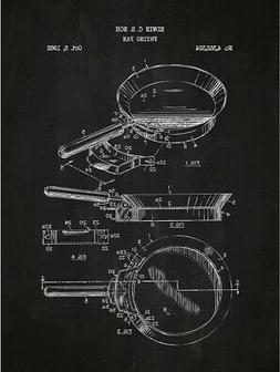"Inked and Screened ""Frying Pan"" Print, 18"" x 24"", Chalkboard"