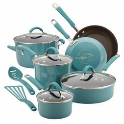 12pc Rachel Ray Cookware Set Nonstick Blue Pots Pans Lids Te