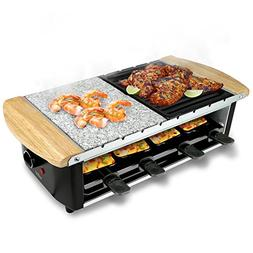 Raclette Grill, Two-Tier Party Cooktop, Stone Plate & Metal