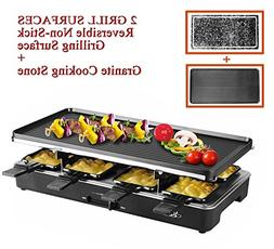 Artestia Electric Raclette Grill with Two Full Size Top Plat