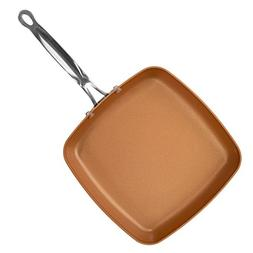 Red Copper Double-Coated 9.5-Inch Square Dance Pan by BulbHe