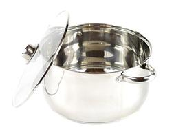 Gourmet Chef 8-Quart Stainless Steel Stock Pot with Glass Li