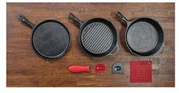 Lodge 6 Piece Seasoned Cast Iron Cookware and Accessories Se