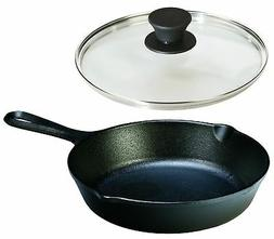 Lodge Seasoned Cast Iron Skillet with Tempered Glass Lid  -