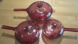 6 Piece Set - Corning Visions Visionware Cranberry Sauce Pan