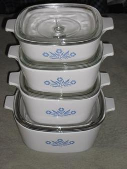 8 Piece Set - Vintage Corning Ware Cornflower Blue Casserole