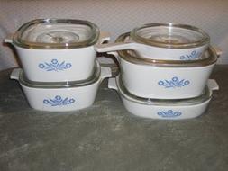 10 PIECE SET - Vintage Corning Cornflower Blue Glass 6 1/2 S
