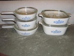 10 PIECE SET - Vintage Corning Cornflower Blue Glass 6 1/2 I