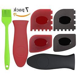JLYSHOP Cast Iron Grill Pan Scraper Plastic Set Tool & Iron