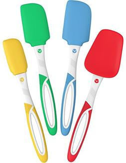 Vremi 4 Piece Spatula Set - Colorful Silicone Rubber Baking