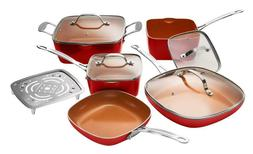 Gotham Steel Square 10-Piece Nonstick Copper Frying Pan & Co