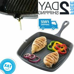 Square Cast Iron Skillet Grill Frying Pan Griddle Pre Season