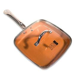 Copper square frying pan with lid. 9.5 inch, non-stick | hea