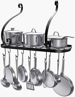 VDOMUS Wall Mount Pot Pan Rack, Kitchen Cookware Storage Org