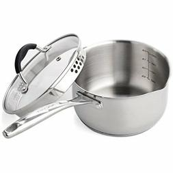 AVACRAFT Stainless Steel Saucepan with Glass Lid, Strainer L