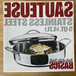 """Stainless Steel Sauteuse 12"""" Pan 5 Quart Qt with Lid Tools O"""