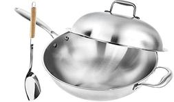 Wok Pan with Premium Lid and Bonus Bamboo Spatula - Thick 13