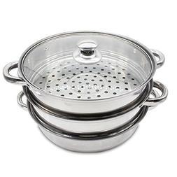 AMAZInthapuj Steamer Cookware 3 Tier Stainless Steel Pot Set