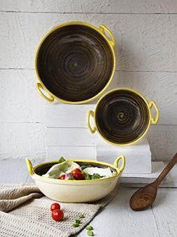 Store Indya Ceramic Pans Pot Cookware Skillet Kadai with Han