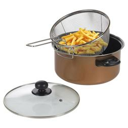 Stove Top Chip Deep Pan Fat Fryer Set Copper Look Frying Bas