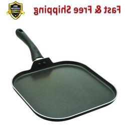 "Stovetop Griddle Frying Pan 11"" Non Stick Aluminum Flat Cook"