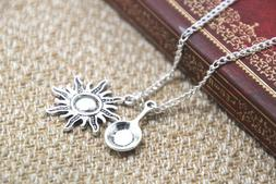 Tangled necklace frying pan sun charm inspired Neckace