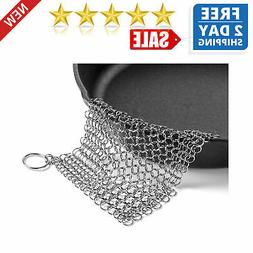 The Ringer Stainless Steel Chainmail Cast Iron Skillet Clean