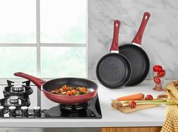Saflon Titanium Nonstick 3-Piece Frying Pan Set PFOA Free, D