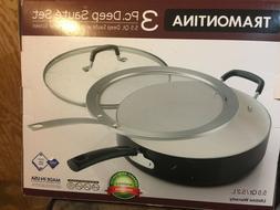 Tramontina 3 Pc  Nonstick Deep Saute Pan Set With Frying Spl