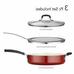Tramontina 3 Pc Red Nonstick Deep Saute Pan Set With Frying