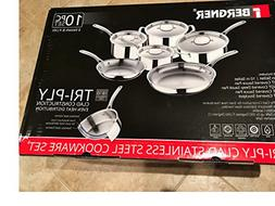 Bergner Tri-Ply Clad Stainless Steel Cookware 10 pc Set