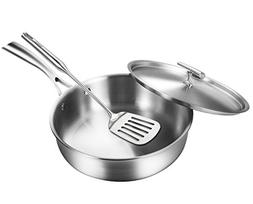 LASANTEC a 3-Ply Stainless Steel Pan Frying Pan with Lid Slo