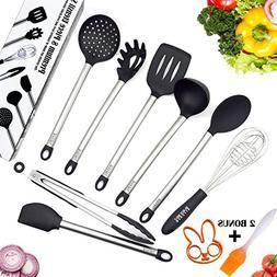 Black Belt Kitchen Utensil Set with 8 Cooking Tools Plus 2 G