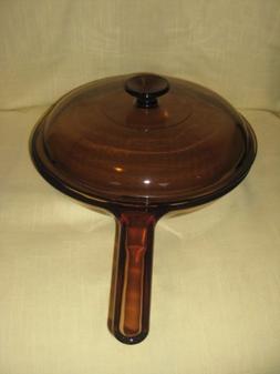 Vintage Corning Visions Visionware Amber 10 Inch Skillet Fry
