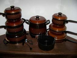 Vntg Enamelware Cookware UNUSED Spain POTS FRY PANS ENAMEL S