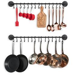 Wallniture Kitchen Pot Racks, Set of 2 Wall Rails + 20 Hooks