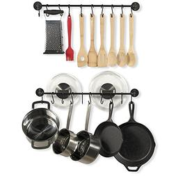 Wallniture Kitchen Pot Racks Set of 2 Wall Rails and 20 Hook