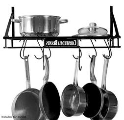 Wall-Mounted Pot Hanging Rack, 24 by 10 Inches, All-Black De