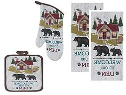 4 Piece Welcome to Our Den Kitchen Linen Set - 2 Terry Towel