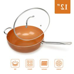 Wok 12' Nonstick Copper Round Saute Pan with Lid for Frying