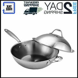 Wok Stir Fry Pan Lid Frying Stainless Steel Dishwasher Oven