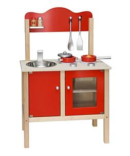 Viga Wooden Kitchen With Saucepan, Frying Pan And Accessory
